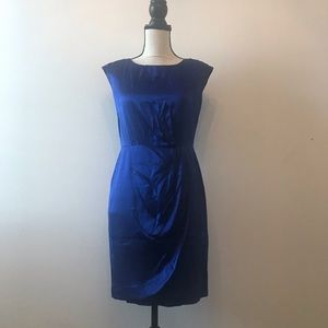 Cynthia Steffe Silk Blue Dress w/ Shoulder Detail